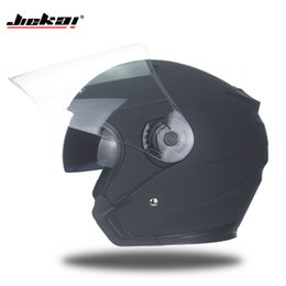 Wholesale dual visor helmets - Men Mrs Four Seasons Helmet Motorcycle Helmet Motorcycle Open Dual Lens Built-In Visor Vintage High Quality M,L,XL,XXL