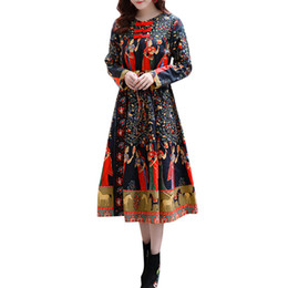 c125d0a4cd7 5XL Plus Size Women Clothing Fashion Vintage Floral Ethnic Dress Chinese  Buttons O Neck Long Sleeve Drawstring Loose Dress 2018