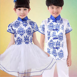 Wholesale Chinese Folk Dance Costumes - Chinese Folk Traditional Style kids dance wear costumes Girls ballroom dancing dress Boys Party dance outfits Stage wear Outfits