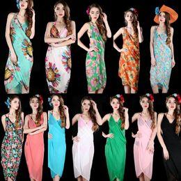 3bccd91526 Women Floral Bikini Cover Ups Print Sexy Pareo Beach Dress Bohemian Sarong  Chiffon Beach Bikini Wrap Swimwear Scarf Shawl Brace