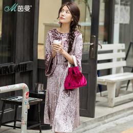 2019 embelleció los vestidos largos moldeados de la manga INMAN 2018 Nuevos productos Mujeres primavera cuello redondo mangas largas Vestido