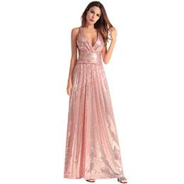 Abito lungo da donna Elegante abito da damigella d onore 2018 Sexy scollo a  V senza maniche con paillette Backless da sera per le donne 09e00e0044b