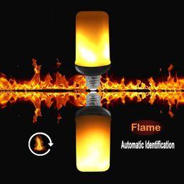Wholesale 24v Led Garden Lighting - New G-sensor Automatic Flame Direction Fire Effect 3 Styles E27 LED Flame Bulb Mini G4 Flicker Flame Light