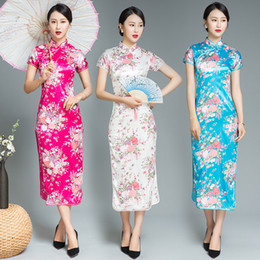 chinese women dress sexy Coupons - Plus Size XXXL Chinese Women Elegant Dress Show Clothing High Split Sexy Sheath Qipao Print Floral Vintage Cheongsam Vestidos
