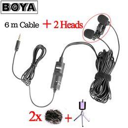 Argentina Boya By-M1DM 6m Cable Dual-Head Lavalier solapa con clip de micrófono para entrevista en vivo / teléfono inteligente / teléfono móvil / tableta VS By-M1 cheap m1 mobile phone Suministro