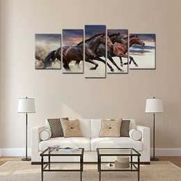 Discount three horse painting - 5 Pieces Modern Canvas Wall Art Three Fine Horses Running Animal Painting Artwork For Home Living Room Decoration Framed Ready to Hang
