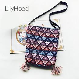 Wholesale Tribal Phone - LilyHood Handmade Fabric Shoulder Bag Female Fringe Ethnic Tribal Aztec Gypsy Bohemian Boho Chic Soft School Crossbody Bag