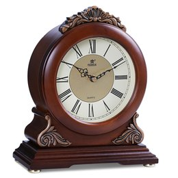 Wholesale Wood Table Desk - POWER Brand High-end Solid Wood Desk Clock Silent Quartz Movement Table Clock Crystal Masa Saati Saat Hourly Chiming