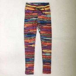 Spandex de impressão colorido on-line-Spandex New Mulheres Original Leggings de Malha de Impressão com 2 Amarela Cintura na Cintura e Corda Colorida Cair Frente Frete Grátis