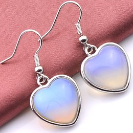 Wholesale Opal Drop Earrings Silver - New Arrival 5PCS 1Lot Christmas Jewelry Gift--Lucky Stone Heart Drop Moonstone 925 Silver Drop Earrings EA030