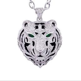 Bling Iced Out Anhänger Halskette Einfaches Design Micro Pave Voller Kubikzircon Leopard Dragon Tiger Kopf Chocke Kragen Hip Hop CZ Schmuck Geschenk von Fabrikanten