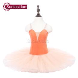 Concours de danse de ballet en Ligne-Enfants Orange Ballet Tutu Bleu Spectacle Sur scène Costumes Enfants Professional Ballet Dance Competition Apperal Adulte Jupe De Ballet