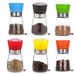 Wholesale Glass Spice Shakers Wholesale - Kitchen Glass Grinding Bottles Salt Pepper Mill Grinder Glass Pepper Grinders Shaker Spice Container Condiment Jar Holder