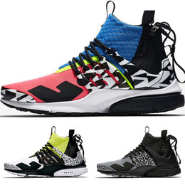 chaussures blanches hommes populaires Promotion 2018 New Acronym Presto Mid Men Women Running Shoes Blue Pink White Black Grey Zapatillas Moc 2 Sneakers Colourful Popular Casual Sock Shoes