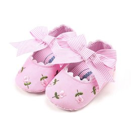 kids shoes pairs UK - Newborn Toddler Baby Girls kids clothes Floral print striped Soft Sole Leather Bow casual Crib Shoes one pairs