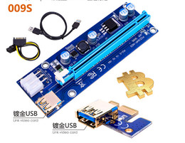Wholesale Pci Adapters - For BTC Ver009S 60cm PCI-E Riser Express 1X 4x 8x 16x Extender Riser Adapter Card SATA 15Pin-6Pin USB 3.0 60cm Power Cable With Led Free DHL