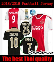 Wholesale thailand soccer jerseys free shipping - 2018 2019 ajax soccer jersey away black home 2018 2019 ajax NERES HUNTELAAR SCHONE football shirts thailand quality free shipping