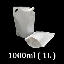 Bebida de plástico branco on-line-1000 ml 1L branco plástico food grade embalagem mel suco de frutas água potável em embalagem de plástico bolsas saco 190 pcs