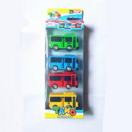 Wholesale kids korean models - 4pcs set Tayo the little bus Korean Cartoons oyuncak araba car model mini plastic pull back tayo bus for kids Christmas gift