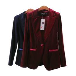 chaquetas de un solo botón para mujer Rebajas Blazer de terciopelo rojo Blazer Bleu Marine Ladies Blazer Chaqueta de traje solo Femme Chaqueta de invierno Chaqueta de mujer Blazers Trajes de diseño