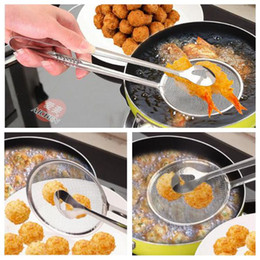 Wholesale Frying Oils - Multi-functional Filter Spoon With Clip Food Kitchen Oil-Frying BBQ Filter Stainless Steel Clamp Strainer Set Kitchen Tools CCA9007 100pcs
