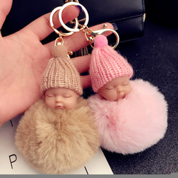 Wholesale Rabbit Key - 12 color Cute Sleeping Baby Doll Keychain Pompom Rabbit Fur Ball Key Chain Car Keyring Women Key Holder Bag Pendant Charm Accessories
