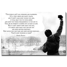 Wholesale Pictures Movie Posters - ROCKY BALBOA Inspirational Motivational Film Movie Quote Art Print Poster On Canvas Modern Home Decor Art Print Picture painting