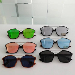 Óculos de sol azul on-line-Mulheres olho de gato ÓCULOS DE SOL BRANCO HAVANA / AZUL ESPELHO OCCHIALI DA SOLE Óculos De Sol Óculos unisex Com Caixa Nova