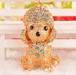 Wholesale Poodle Jewelry - brand new crystal gold plated dog shape key chain rings poodle car pendant jewelry model no. kj0003
