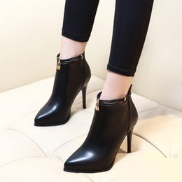 genuine ch leather Promo Codes - 2017 Pointed Toe Sexy High Heels Ankle Boots For Women Autumn Winter Fashion Party Dress Thin Heel Short Boots Shoes CH-A0010