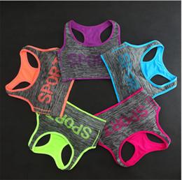 Wholesale Push Up Bra Tank Top - Women Sport Letter Print Bra Sexy Yoga Running Gym Vest Push Up Fashion Crop Tank Top Shakeproof Bra Underwear