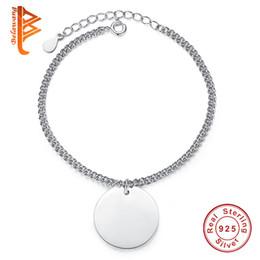 Pulsera de enlace de la libra esterlina online-BELAWANG 100% 925 Círculo Colgante de Plata Charm Bracelet Free Engrave Custom Chain Link Bracelet para Mujeres Joyería Única