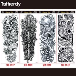 4pcs / lot nouveau bras complet imperméable autocollants de tatouage temporaire noir mort crâne autocollant 48 * 17cm grandes manchons de faux tatouages pour hommes ? partir de fabricateur