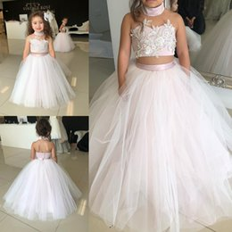 Wholesale Two Piece Halter Wedding Dresses - Cute Flower Girl Dresses For Wedding Ball Gown Tulle Appliqued Beaded Two Pieces Girls Pageant Dress Birthday Party Communion Wear