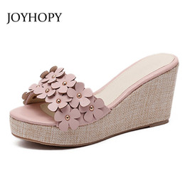 Wholesale Wedge Creepers - JOYHOPY Wedges Shoes 2017 New Flower Thick Bottom Platform Sandals Summer Woman Casual High Heels Sweet Creepers Slippers WS1644
