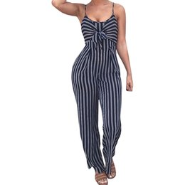 97d6d5345391 Sexy Bow Strap Striped Jumpsuit Wide Legs Summer Sleeveless Backless Off  Shoulder High Split Rompers Womens Jumpsuits sexy bow legs deals