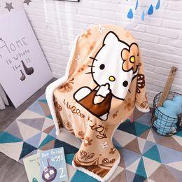 ropa de cama del gatito Rebajas Hello Kitty Cartoon Sherpa Blankets Throw Plush franela bebé niño pequeño manta de viaje en la cama / sofá / coche tamaño 100 * 140cm