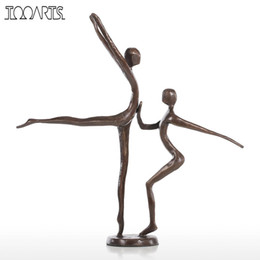 Wholesale art bronze sculpture - Tooarts Double Dance Statue Modern Bronze Sculpture Metal Statuette Home Decor Art Gift Figurines Home Decoration Accessories