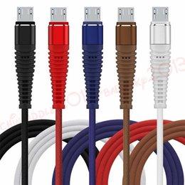qualität s3 telefon Rabatt Stärker geflochtene Art c Micro-USB-Kabel 1m 2m 3m Legierung Metallgewebe Tuch USB-Daten-Ladekabel für Samsung s6 s7 s8 s9 htc Android-Telefon
