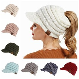 Wholesale tie dye beanie - CC Ponytail Hats 12 Colors Knitted Baseball Beanie Warm Caps Crochet Hat Messy High Bun Cap 60pcs OOA5283