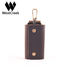 Wholesale Leather Handmade Key Ring - Westcreek Brand Minimalist Genuine Leather Handmade Key Wallets Key Holder Case Retro Organizer Pouch with 6 Ring