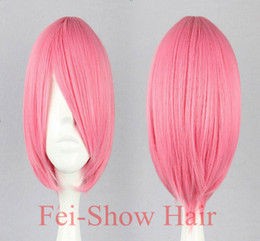 Wholesale Pink Cosplay Wigs Short - bang bang Fei-Show Synthetic Bob Short Pink Wavy Wig Picture Like Bangs with Heat Resistant Fiber Cosplay Party Salon Hair