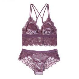 0b29f1d659 Eyelash Lace Velvet No Rim Bralette Small Big girls VS thin cup Underwear  Ladies Bra Set thin sexy Purple Black Blue Lingerie Bras