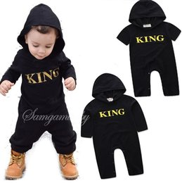 Wholesale King Baby Wholesale - 100% Cotton Boys Grils Baby Rompers Long Sleeve Newborn Onesies Clothing King Toddler Romper Infant Hooded Jumpsuits Boutique Clothes