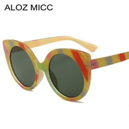 полосовые солнцезащитные очки Скидка ALOZ MICC новый Винтаж Кошачий глаз Солнцезащитные очки женщины мода полоса кадр солнцезащитные очки женский бренд черный красный очки Очки A632