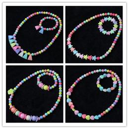 bracelets à bracelet étoilé Promotion 27 styles enfants collier ensembles accessoire coloré perles pendentif collier et breloques bracelet enfants fille acrylique bijoux cadeau