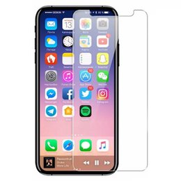 Wholesale tempered glass protection screen - For iPhone X 8 7 6 6S Tempered Glass Screen Protector for iPhone 6S Plus Samsung S6 S7 Note 5 screen clear film protection with 9H Hardness