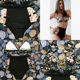 Wholesale brazillian swimwear - Woman Swimsuit Lady Swimwear Femme Bikini Sexy Floral Print Brazillian Bathing Two Piece Suit High Waist Printing 18xc V