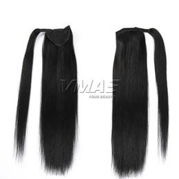 Wholesale ponytail wraps - Peruvian Magic Wrap Around Ponytail 120g Clip In Stragiht Horsetail 100% Virgin Human Hair Extensions VMAE HAIR