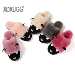 Wholesale nature flooring - New fashion nature sheep fur wool lined women winter slippers winter home leisure shoes indoor baboosh navy blue red chinela